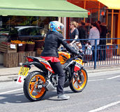 Learner motorcycle rider Stock Photo