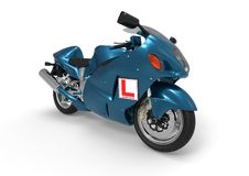 Learner sign on a motocicle concept. 3D  render image representing a Learner sign on a motocicle concept Royalty Free Stock Image