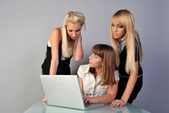 Learning. Women learn use banking software Stock Photo