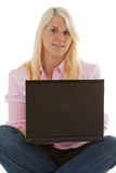 Learning. A young woman learns for the future royalty free stock image