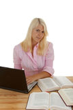 Learning. A young woman learns for the future royalty free stock images