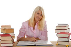 Learning. A young woman learns for the future royalty free stock photos