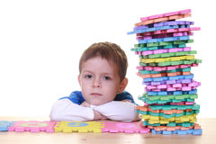 Learning. Five years boy and letters isolated on white Stock Images