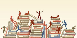Learning. Editable  illustration of children reading and clambering over piles of books Stock Photography