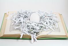 Learning. An egg in a paper nest rests on a book symbolic of learning stock images