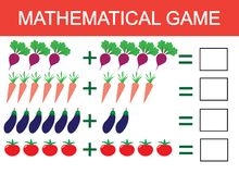 Learning addition by example of vegetables for children, counting activity. Math educational game for children. Vector illustratio. N Royalty Free Stock Images