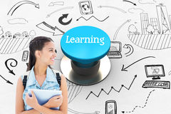 Learning against blue push button Stock Photos