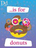 Learning the alphabet fast and easy. D is for Donuts, english education· kindergarten · baby, alphabet learning, letter learning, illustrative coloured Royalty Free Stock Photo