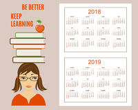 Learning american calendar for wall year 2018, 2019 Royalty Free Stock Image