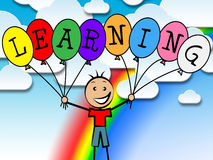 Learning Balloons Represents Tutoring College And Development. Learning Balloons Meaning Youngsters Child And Male Royalty Free Stock Photos