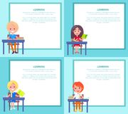 Learning Banners Set with Children Sitting at Desks. With textbooks at school. Vector illustration of begginers on 1st of September, back to school Royalty Free Stock Photos