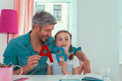 Home education. Learning while being creative at home stock image