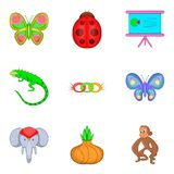Learning biology icons set, cartoon style Royalty Free Stock Photo