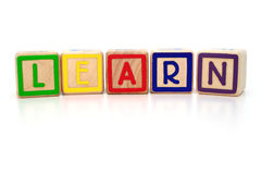 Learning blocks. Isolated children's building blocks spelling learn Stock Photography
