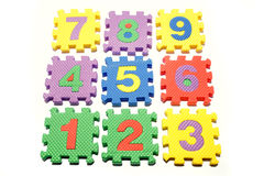 Learning Blocks. A view of colorful blocks used for teaching numbers to small children, isolated on a white background royalty free stock images