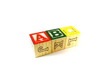 Learning blocks ABC. Learning blocks arranged in a line ABC Stock Images