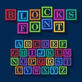 Learning Blocks alphabet. Illustration on dark Royalty Free Stock Images