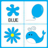 Learning blue color. Balloon, flower and whale. Educational card Royalty Free Stock Images