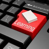 Learning and book on button of computer keyboard Royalty Free Stock Images