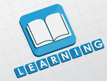 Learning and book sign, flat design blocks Stock Image