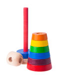 Learning child wood color pyramid toy Stock Photography