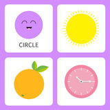 Learning circle round form shape. Smiling face. Cute cartoon character. Sun, orange fruit with leaf, clock watch set. Educational. Learning circle form shape Stock Photos