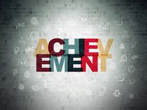 Learning concept: Achievement on Digital Data Paper background. Learning concept: Painted multicolor text Achievement on Digital Data Paper background with  Hand Stock Photos