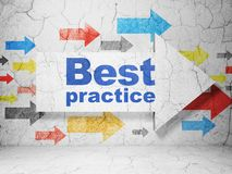 Learning concept: arrow with Best Practice on grunge wall background Stock Photo