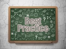 Learning concept: Best Practice on School board background. Learning concept: Chalk Pink text Best Practice on School board background with  Hand Drawn Education Royalty Free Stock Photos