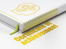 Learning concept: book Head With Gears, Certificate of Achievement on white background Stock Photos