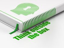 Learning concept: book Head With Keyhole, Think outside The box on white background. Learning concept: closed book with Green Head With Keyhole icon and text Royalty Free Stock Images
