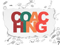 Learning concept: Coaching on Torn Paper Stock Photos