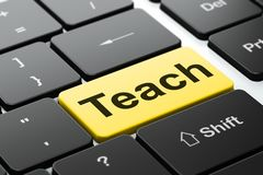 Learning concept: Teach on computer keyboard background. Learning concept: computer keyboard with word Teach, selected focus on enter button background, 3D Royalty Free Stock Photography