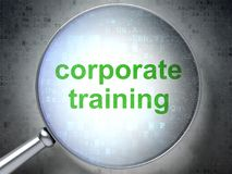 Learning concept: Corporate Training with optical glass. Learning concept: magnifying optical glass with words Corporate Training on digital background, 3D Stock Images