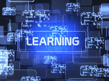 Learning concept. Future technology blue touchscreen interface. Learning concept Stock Photos