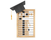 Learning Concept. Graduation Academic Cap over Abacus. On a white background Stock Image