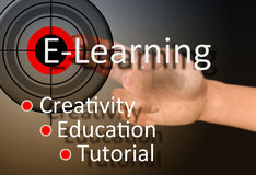 Learning concept. Hand touch on e-learning concept Royalty Free Stock Photography