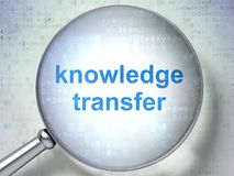 Learning concept: Knowledge Transfer with optical glass. Learning concept: magnifying optical glass with words Knowledge Transfer on digital background, 3D Stock Photography
