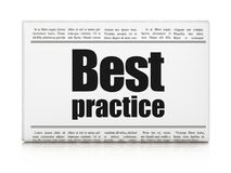 Learning concept: newspaper headline Best Practice. On White background, 3D rendering Royalty Free Stock Photography