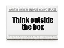 Learning concept: newspaper headline Think outside The box. On White background, 3D rendering Stock Image