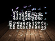 Learning concept: Online Training in grunge dark Stock Image