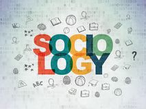 Learning concept: Sociology on Digital Data Paper background. Learning concept: Painted multicolor text Sociology on Digital Data Paper background with  Hand Stock Photo