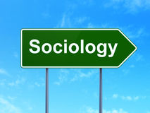 Learning concept: Sociology on road sign background. Learning concept: Sociology on green road highway sign, clear blue sky background, 3D rendering Royalty Free Stock Photography