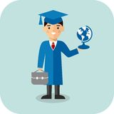 Learning  concept with student in graduation gown and mortarboard Stock Photos
