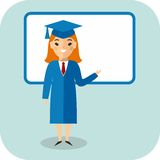 Learning  concept with student in graduation gown and mortarboard  near blackboard Stock Photo