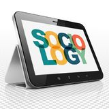 Learning concept: Tablet Computer with Sociology on  display. Learning concept: Tablet Computer with Painted multicolor text Sociology on display, 3D rendering Royalty Free Stock Photos