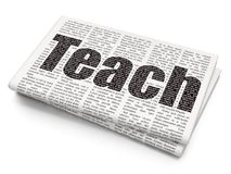 Learning concept: Teach on Newspaper background. Learning concept: Pixelated black text Teach on Newspaper background, 3D rendering Royalty Free Stock Photography