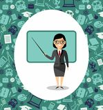 Learning  concept with teacher near blackboard. Concept of education with teacher near blackboard Royalty Free Stock Image
