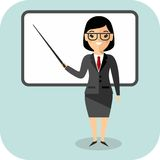 Learning  concept with teacher near blackboard. Concept of education with teacher near blackboard Royalty Free Stock Photography