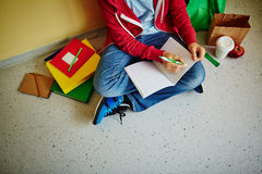 Learning in corridor Stock Photography